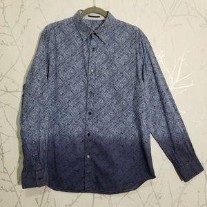 Elie Tahari Blue Ombre Geometric Print Shirt